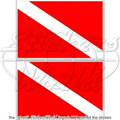 "SCUBA DIVE DOWN Diver Flag DIVING 75mm (3"") Vinyl Bumper Stickers, Decals x2"