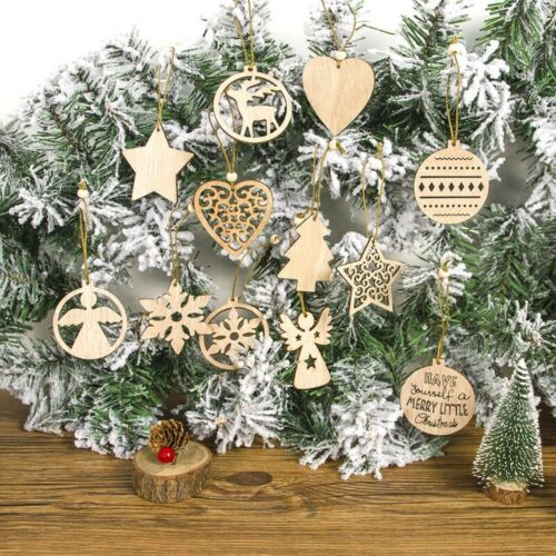 12 Pcs Wooden Christmas Hanging Pendants Ornaments Xmas Tree Wooden Slices-Craft
