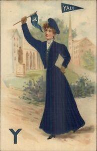 Yale-University-College-Pennant-Girl-WOVEN-SILK-c1910-Postcard-jrf