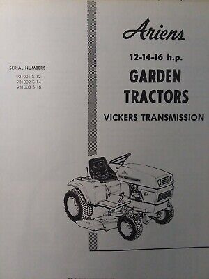 Ariens S-12 S-14 S-16 Vickers Hydro Garden Tractor Service & Parts on