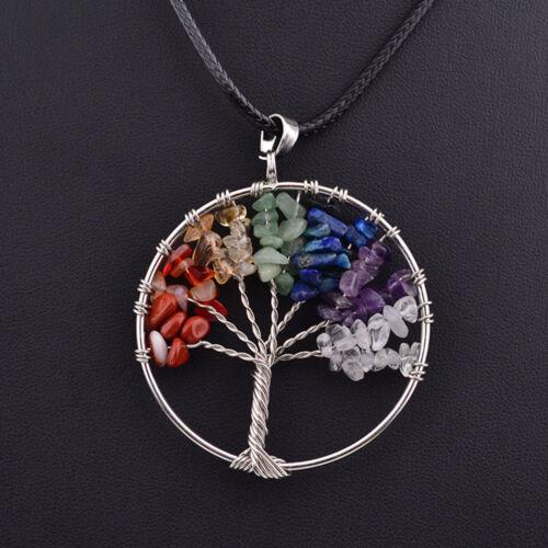 1PC Natural Gemstone 7 Chakra Healing Tree of Life Pendant Necklace Charming