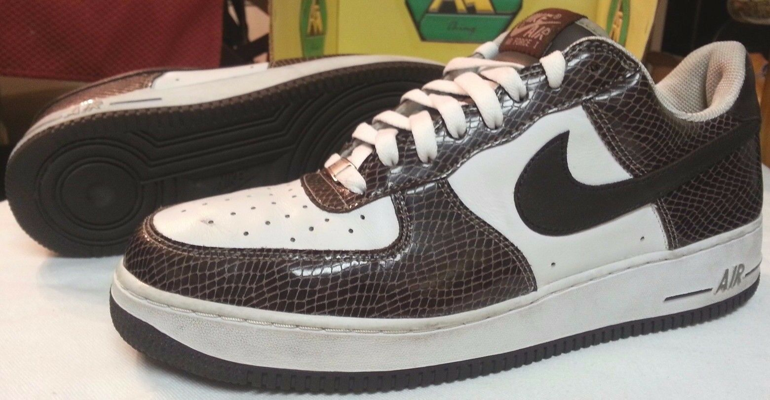 2004 Nike Air Force 1 Low Premium Snakeskin men sz 12 white brown 309096-121