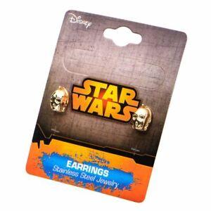 Star-Wars-Gold-IP-C-3PO-Stud-Earrings-Stainless-Steel-3D-Jewellery
