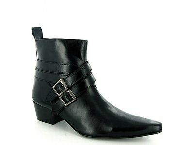 Gucinari RODRIGO Mens Cuban Heel Pointed Winklepicker Buckle Beatles Boots Black