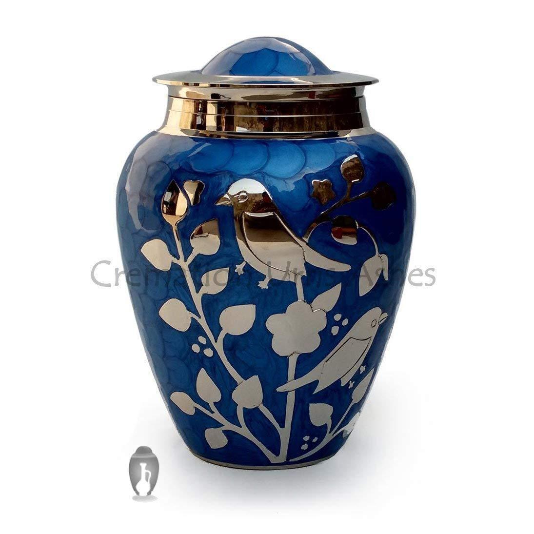Plata Bendición Pájaros Grande Adultos Urna Cenizas en Azul, Cremation Urns