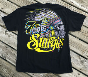 Sturgis-75th-Anniversary-T-shirt-Indian-Skull-Hot-Leathers-Harley-Head-Dress-XL