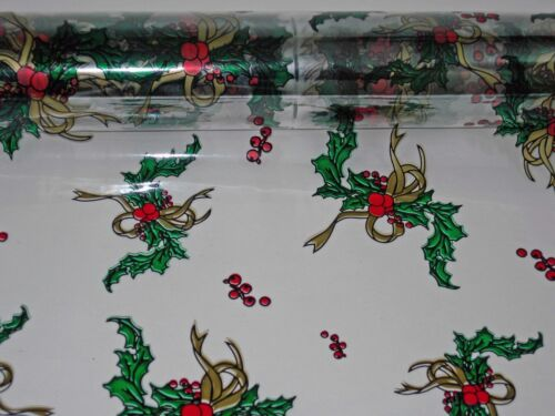 """Gold  Christmas Designs Clear Cellophane Gift Wrap 1 Roll 20/"""" x 100/' Holly"""