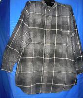 Robert Stock Plaid Flannel Mens Shirt Gray Regular Large Size Long Sleeve Cotton
