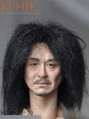 KUMIK 1//6 Man Head Asian Black Short Hair Fit 12/'/' Figure Body KM18-40 Model Toy