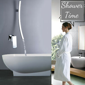 Details About Wall Mount Waterfall Bathroom Tub Filler Faucet Mixer Chrome Safety Grab Bar