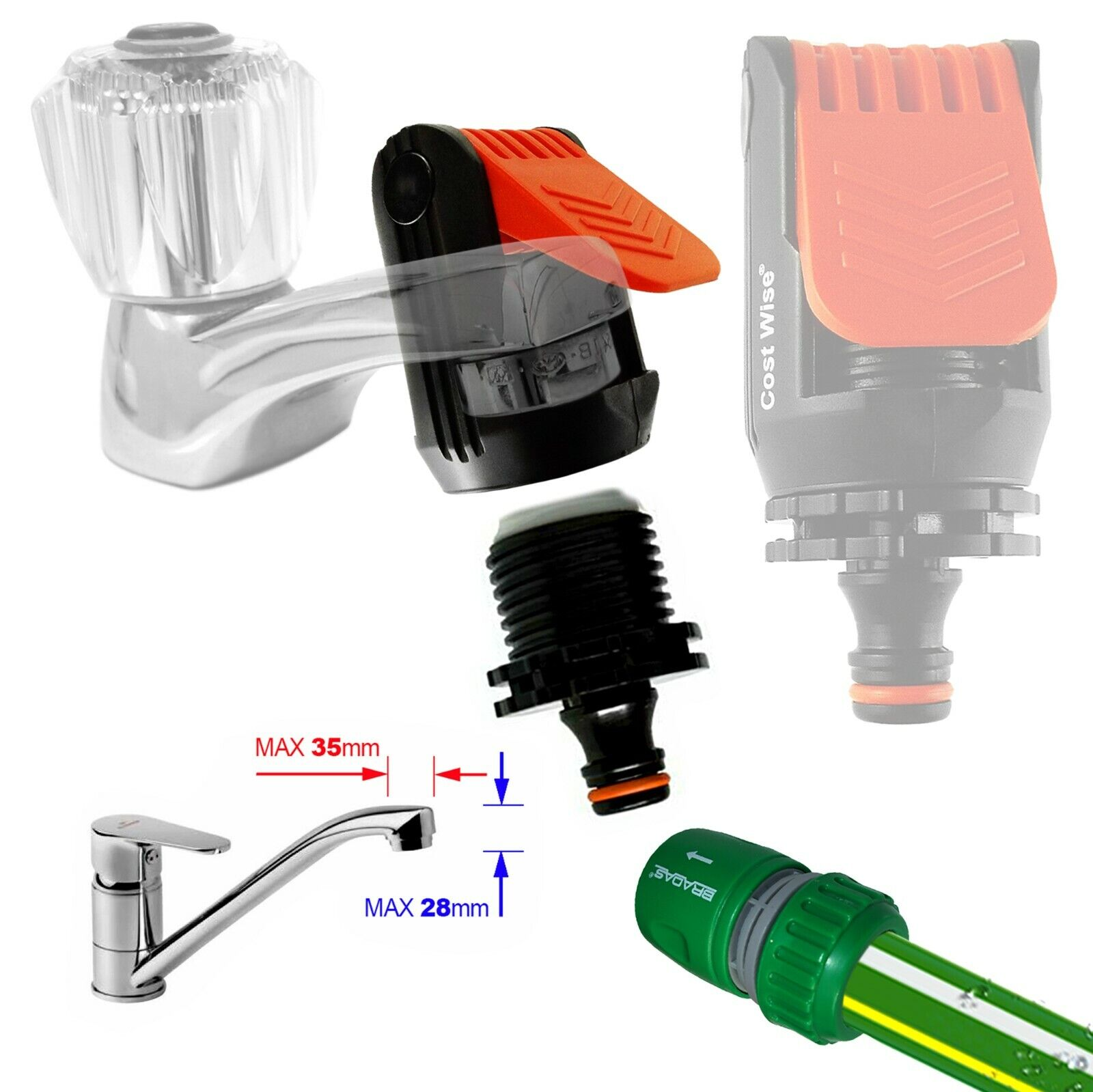 Kitchen Mixer Tap To Garden Hose Pipe - Universal TAP ADAPTER Connection for Tap