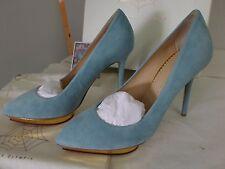 Charlotte Olympia Debbie Heart Platform Suede Gold Calf Shoes Heels Size 38 US 8