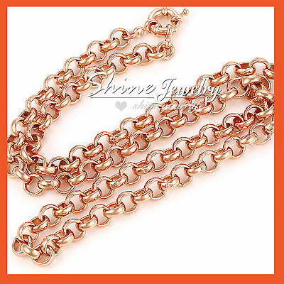 18K ROSE GOLD GF 1MM CURB CHAIN RINGS LINKS MENS LADIES SOLID GIFT NECKLACE 50CM