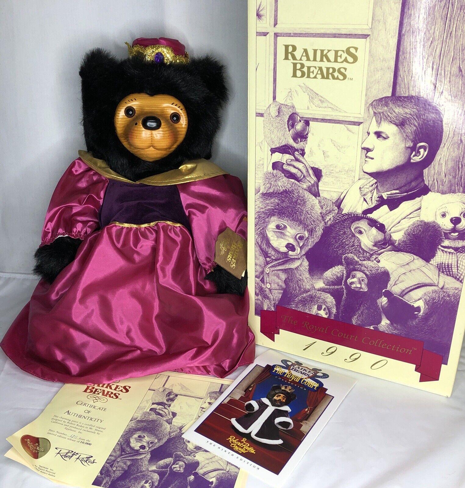 Raikes Bear Queen Mary 1990 Original Box Tag COA 6911 10000 Vintage Wood Face