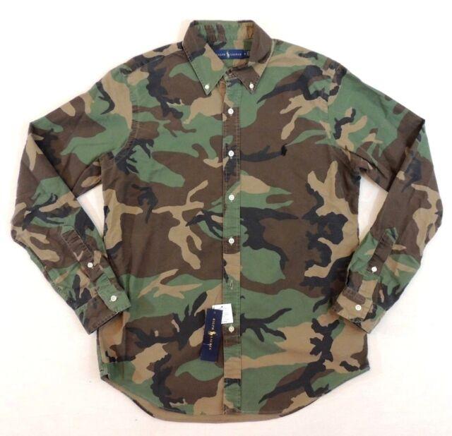 9dce05cd Polo Ralph Lauren Pony Military Army Camo Camouflage Western Oxford Shirt L  XXL