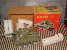GAMA WEST GERMANY, B/O TETHERED TIN ARMY TANK W/MUZZLE FLASH & ORIGINAL BOX!