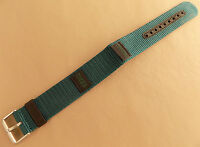 Timex Green/blue Nylon Water Resistant Long 18mm Watch Band Stainless Stl Buckle