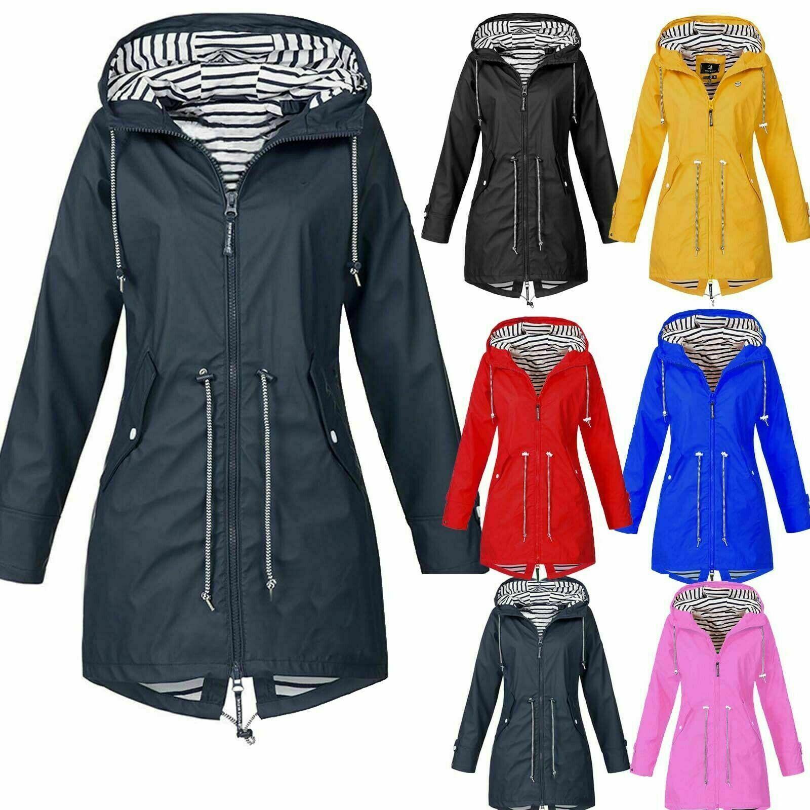 Women Waterproof Raincoat Ladies Outdoor Wind Rain Forest Jacket Coat Size LOT
