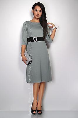 Classic & Sensible Women's Dress FREE Belt  Crew Neck Sizes 8 -14 FK1206
