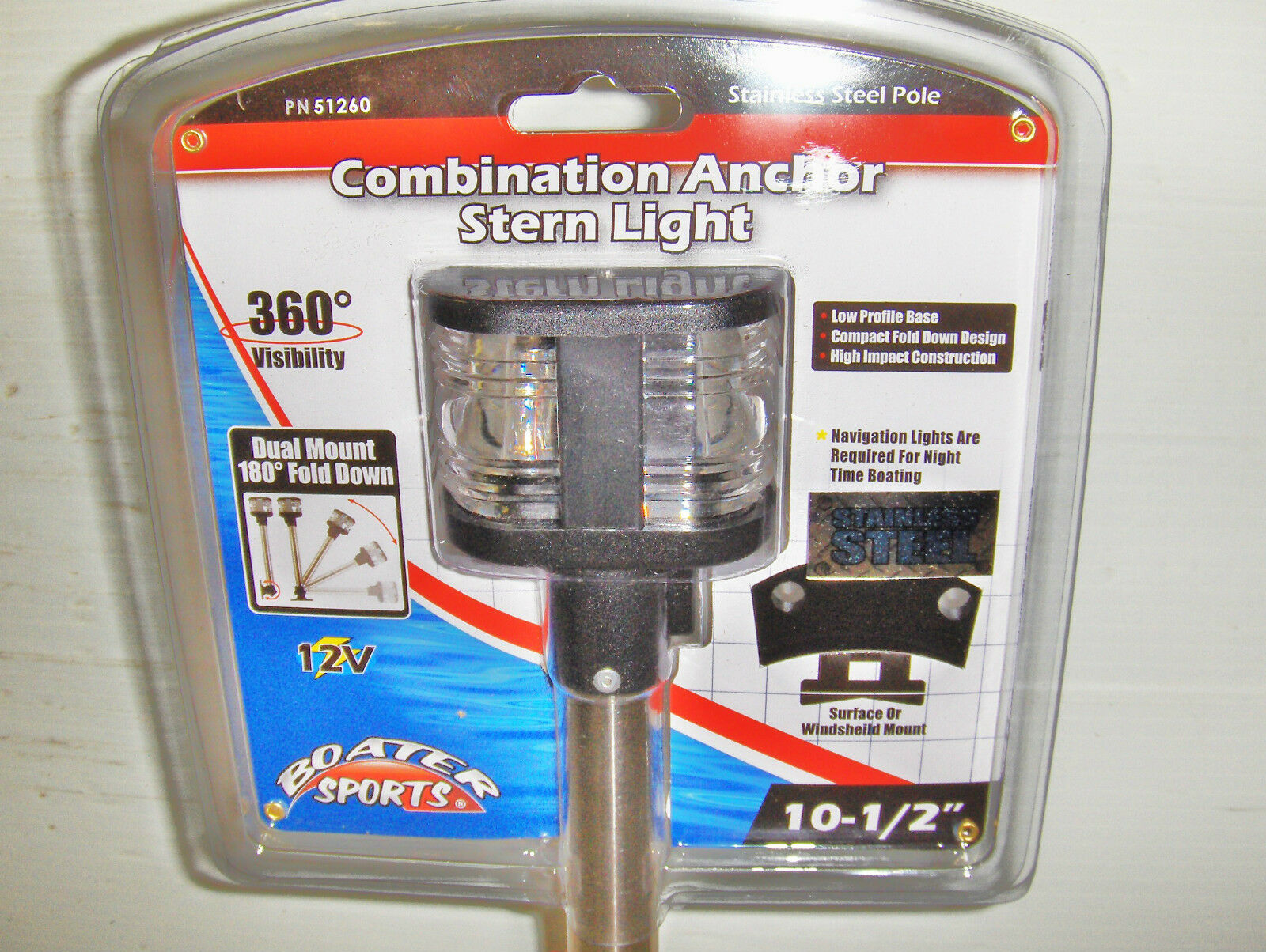 Boater Sports All around Fold-Down Anchor Stern Light 2 mile 1-51260 51260 MD