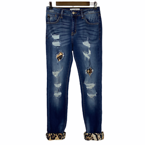 KanCan Mason Mid Rise Leopard Patch Skinny Distressed Jeans Rolled Hem 7 27