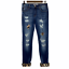thumbnail 1 - KanCan Mason Mid Rise Leopard Patch Skinny Distressed Jeans Rolled Hem 7 27