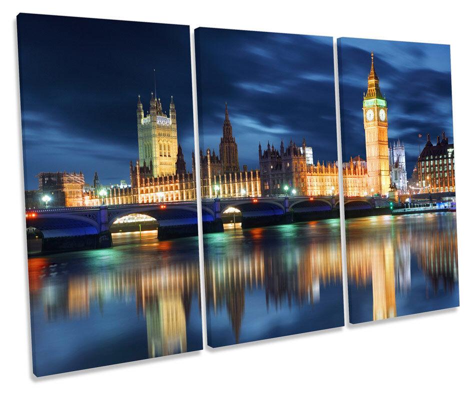 Big Ben City of London TREBLE CANVAS WALL ART Box Framed Print