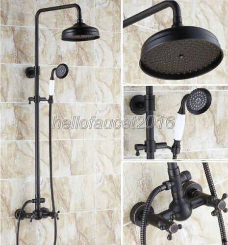 "Oil Rubbed Brass Bathroom Rain Shower Faucet 8/""Shower Head Hand Shower lrs048"