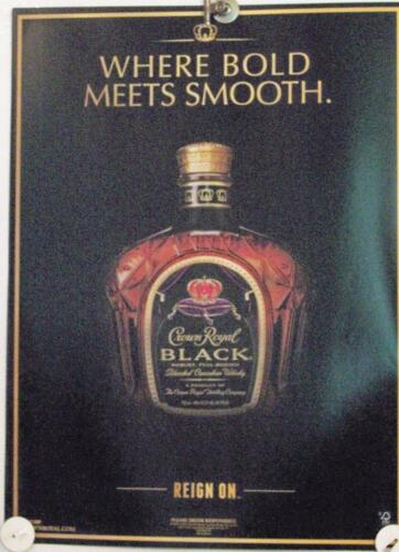 New Lot of 2 Store Display Paper Posters Ad Print  CROWN ROYAL Black