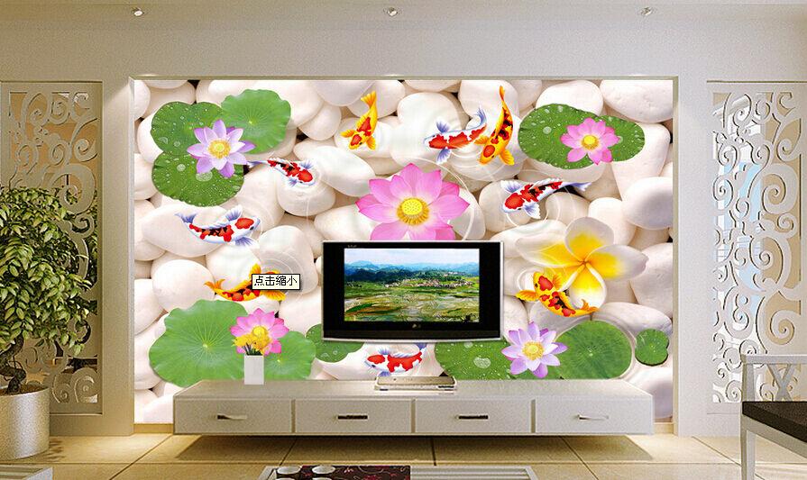 3D Lotus Fish Stone 5467 Wall Paper Wall Print Decal Wall AJ WALLPAPER CA