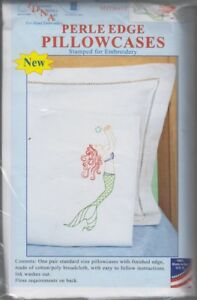 1-pair-Jack-Dempsey-Mermaid-Perle-Edge-Stamped-Embroidery-Pillowcases