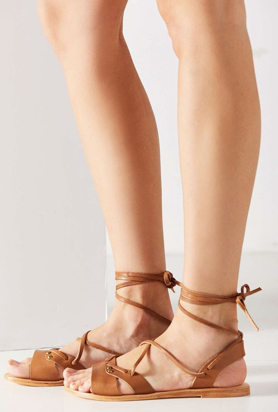 NEU Urban Outfitters Urge tan Leder Ankle Tie Sandales 39 / 8 - 8.5