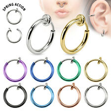 8pcs Spring Action Fake Faux Septum, Nose Hoop, Lip Ring, Earring Wholesale Lot
