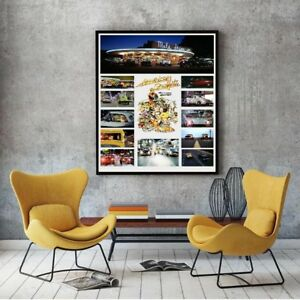 Large-Size-24-034-x32-034-American-Graffiti-Collage-Tribute-Poster-Famous-Cars