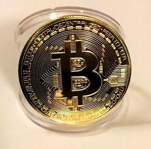 BITCOIN-Gold-Plated-Physical-Bitcoin-in-protective-acrylic-case-FAST-SHIPPING