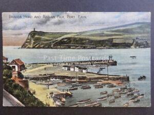 Isle-of-Man-PORT-ERIN-BRADDA-HEAD-amp-RAGLAN-PIER-Old-Postcard