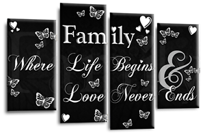 Family Love Quote Art Picture Black White Grey Canvas Home Wall 4