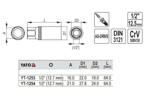 "1//2/"" Long Rubber insert 21mm Spark PLUG SOCKET 16 Spark Plug Wrench"