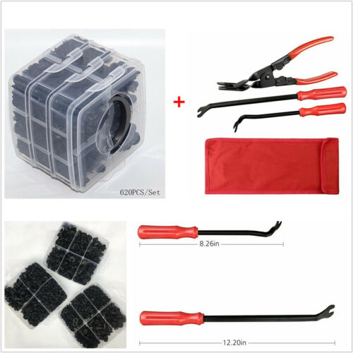 620 Pcs 16 Kinds Mixed Vehicle Bumper Fasteners+Clips Removal Plier Tool+Box Kit