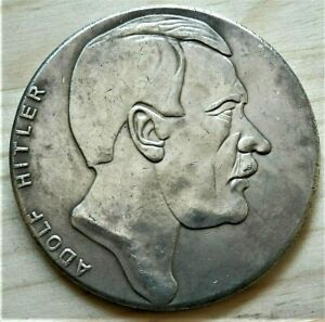 1941-WW2-GERMAN-COLLECTORS-COMMEMORATIVE-COIN-REICHSMARK-A-HITLER-50mm