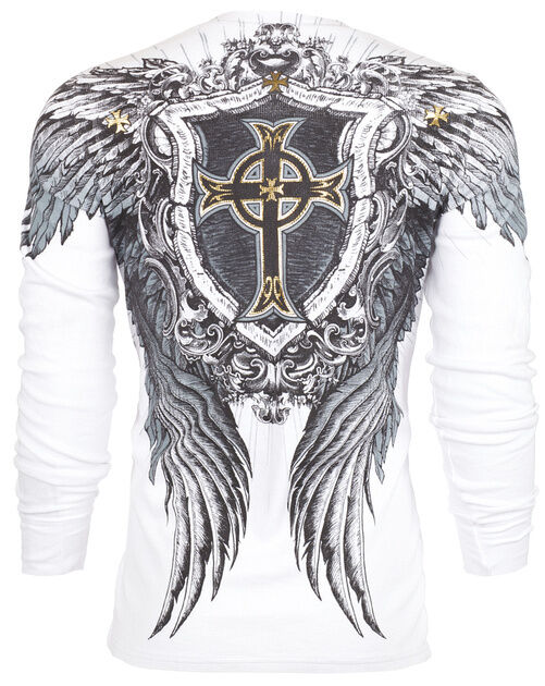 Xtreme Couture AFFLICTION Men THERMAL T-Shirt PULVERIZE Tattoo Biker M-3XL $58 b
