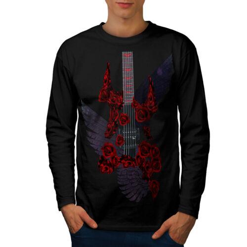 Wellcoda Rock Guitar Roses Music Mens Long Sleeve T-shirt Music Graphic Design