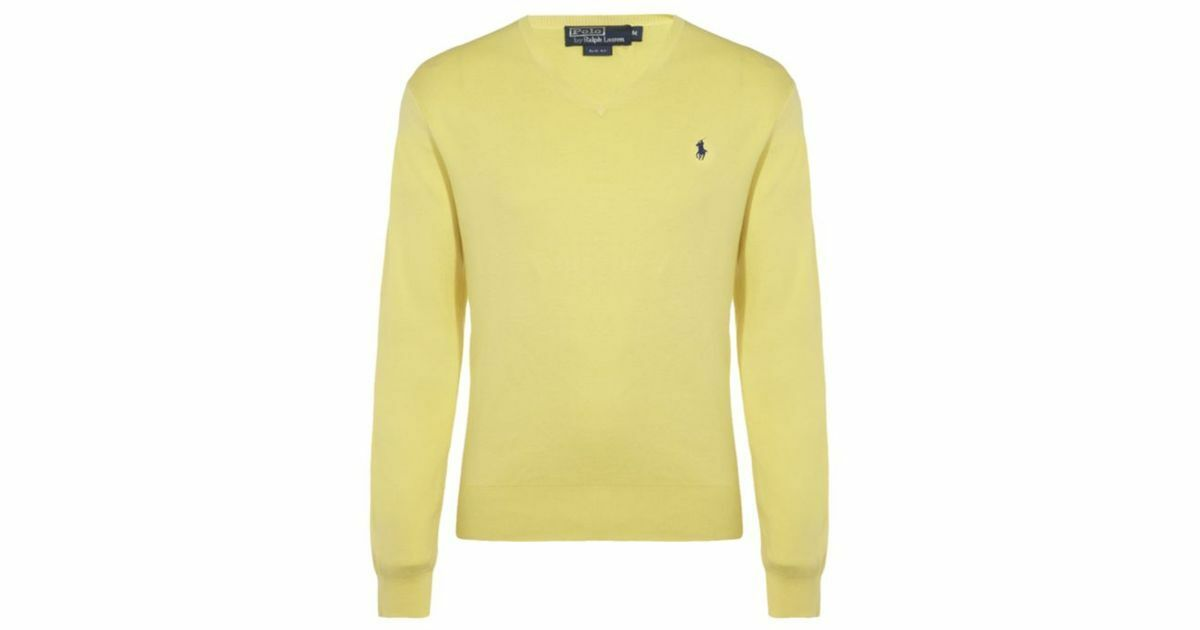 POLO Ralph Lauren Classic Yellow Pima Cotton Sweater  Men's Large - Vintage