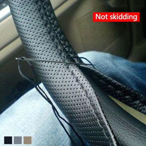 Black PU Leather Car Truck Auto Steering Wheel Cover With Needles and Thread