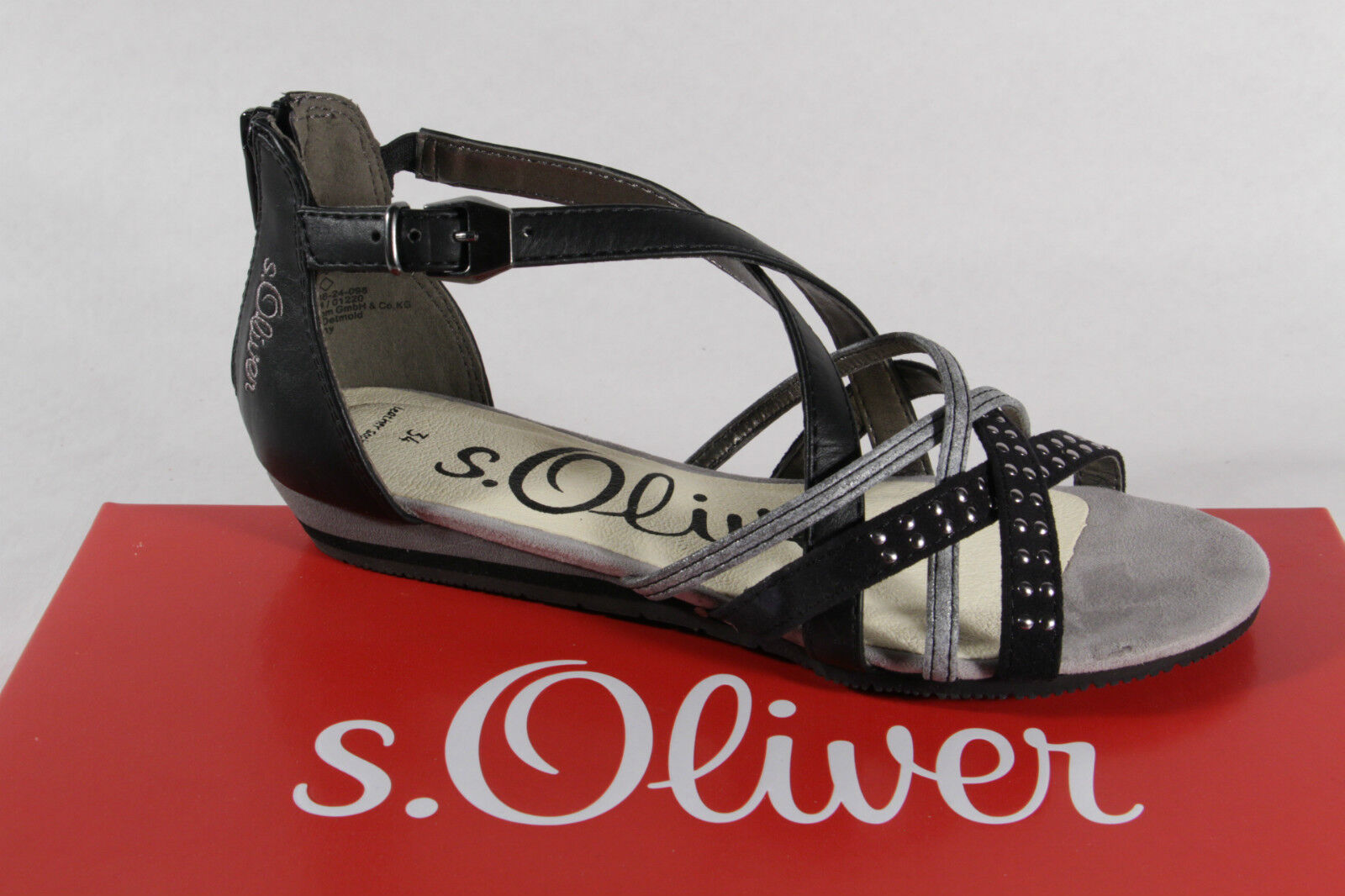 S.oliver Sandal, Black Silver, Soft Leather Insole New