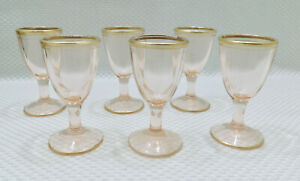 Set-of-6-Vintage-Miniature-Pink-Glass-Liqueur-Cordial-Stemmed-Goblets-Gold-Rim