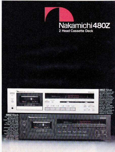 1 Page Promo Hi-fi Nakamichi 480z 2 Head Cassette Deck