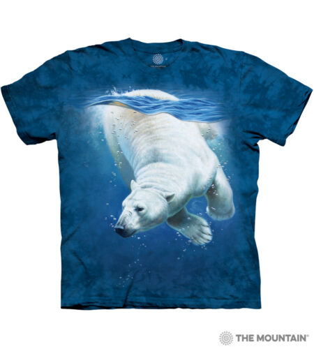 The Mountain 100/% Cotton Kid/'s T-Shirt Youth Blue Tee Polar Bear Dive S /& M NWT