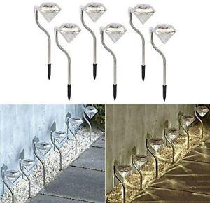 Fiable Nouveau 6 X White Diamond Solaire Jardin Clôture Chemin Patio Extérieur Trottoir Lights-afficher Le Titre D'origine Confortable Et Facile à Porter