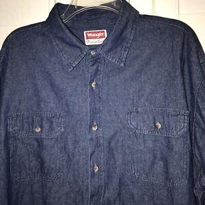WRANGLER-Mens-XL-Denim-Blue-Long-Sleeve-Button-Down-Shirt